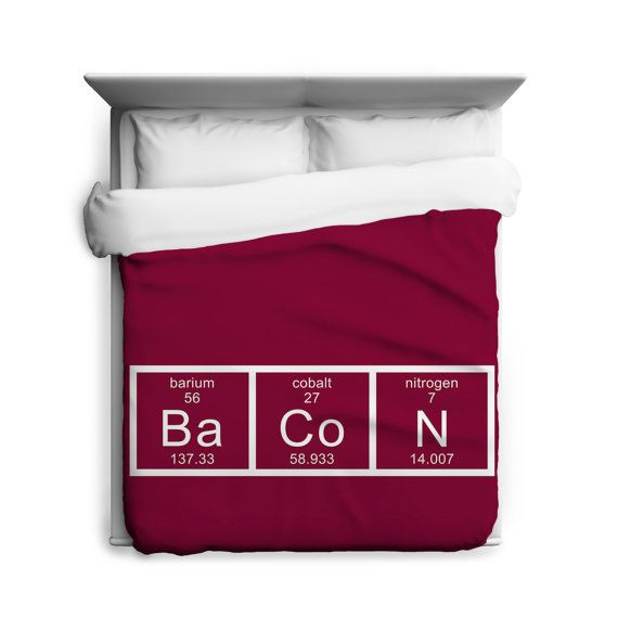 Chemistry Of Bacon DUVET COVER Sizes Twin Queen by CrazyDogTshirts