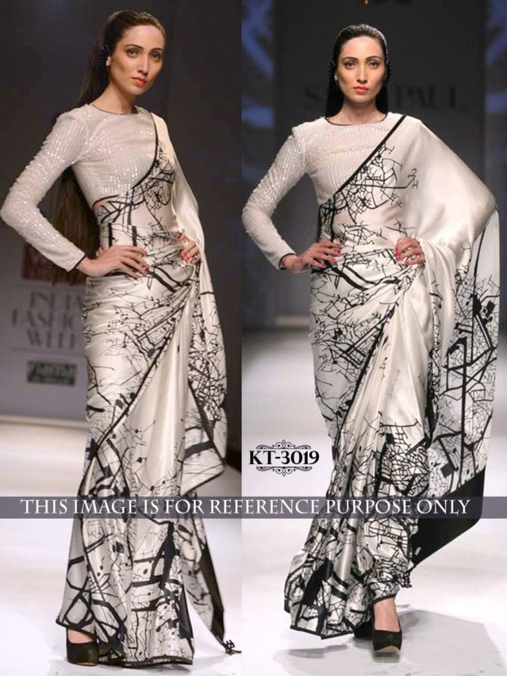 #Silk #Printed Off #White & #Black #Bollywood #Designer #Saree #28% #Only Rs 1449 #sarees#saris#indianclothes#womenwear #ethnicwear #fashion #Bollywood #indiandesigners