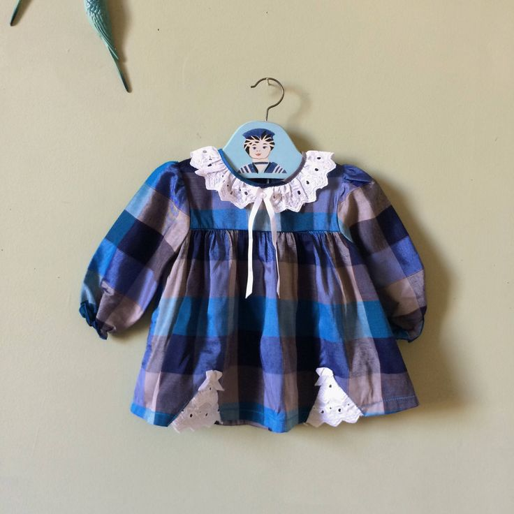 Vintage baby dress / girls vintage / toddlers kids party dress. Blue grey tartan. White lace Peter Pan collar. 1980s. 12 months / age 1 year by YoungTeamVintage on Etsy