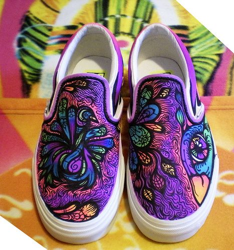 Birdie | (free)Hand Painted Shoes/Vans, fabric marker | Michelle Hallberg | Flickr