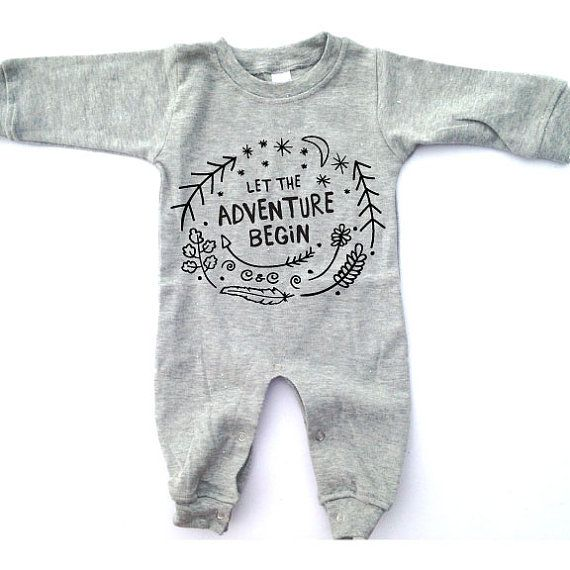 The Adventure Romper, baby clothing,  shower gift, birthday present, gender neutral, unisex, wilderness, modern tribal graphic onesie