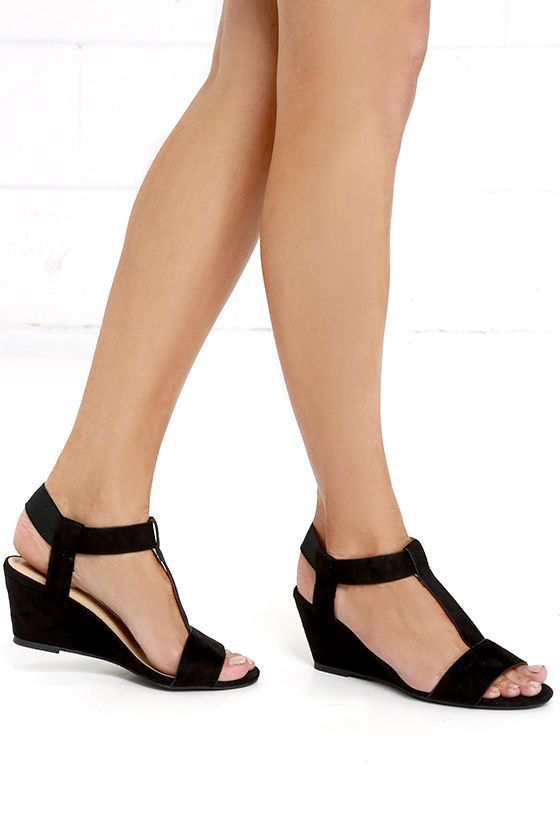 Launch Party Black Suede Wedge Sandals at Lulus.com!                                                                                                                                                                                 More