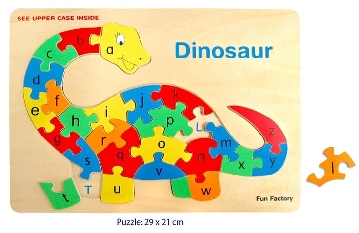 Wooden Alphabet Dinosaur Puzzle - $9 Has 26 removable puzzle pieces and underneath each piece there is a matching letter of the alphabet in upper case 3yrs +