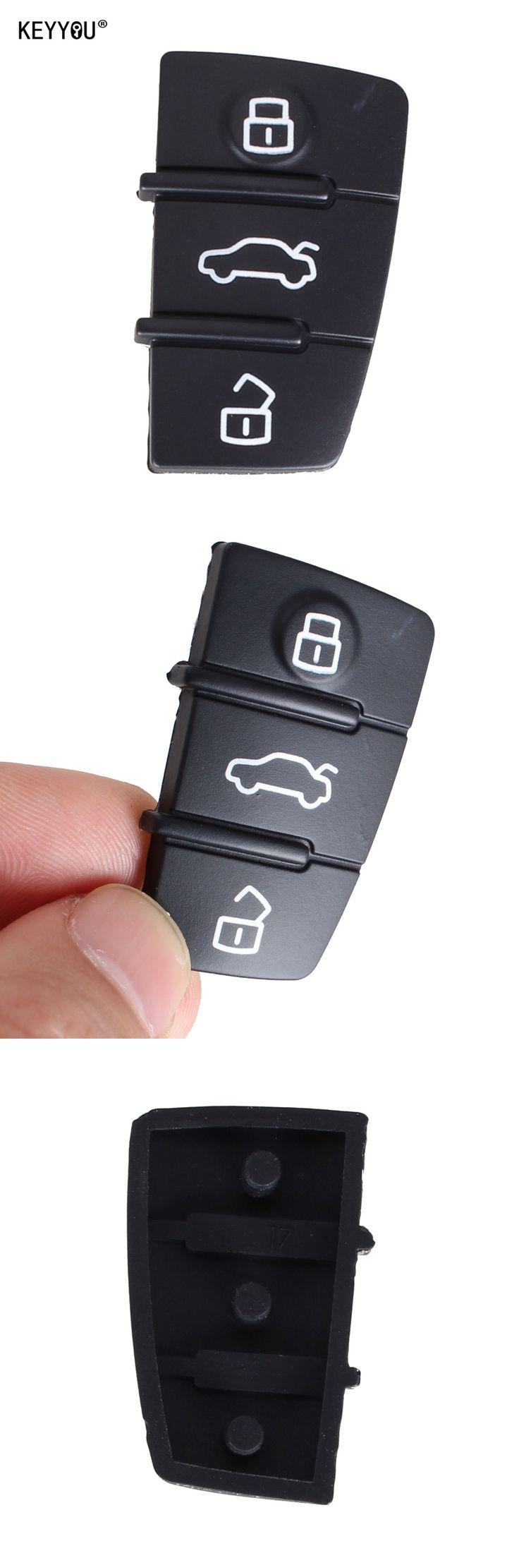 KEYYOU 1Pcs Remote Flip Key Fob 3 Button Pad For AUDI A3,A4,A5,A6,A8,Q5,Q7,TT S LINE RS Car Key Pad Rubber