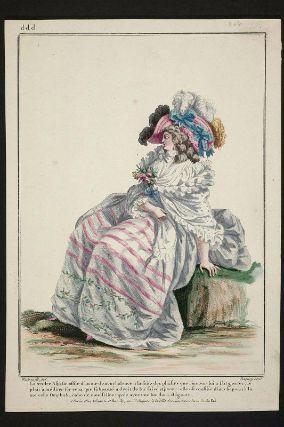 """""""La tendre Aspasie assise d'un air de nonchalance à la suite des plaisirs que l'amour lui a fait gouter, se plaît à méditer sur ceux que sa beauté a droit de lui faire espérer; elle est coëffée d'un chapeau à la nouvelle Omphale, robe de mousseline rayée avec une bordure élégante"""", Gallerie des Modes, 1785; MFA 44.1638"""