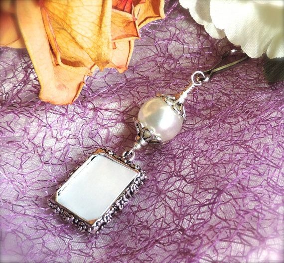 Wedding bouquet photo charm for a bride's by SmilingBlueDog