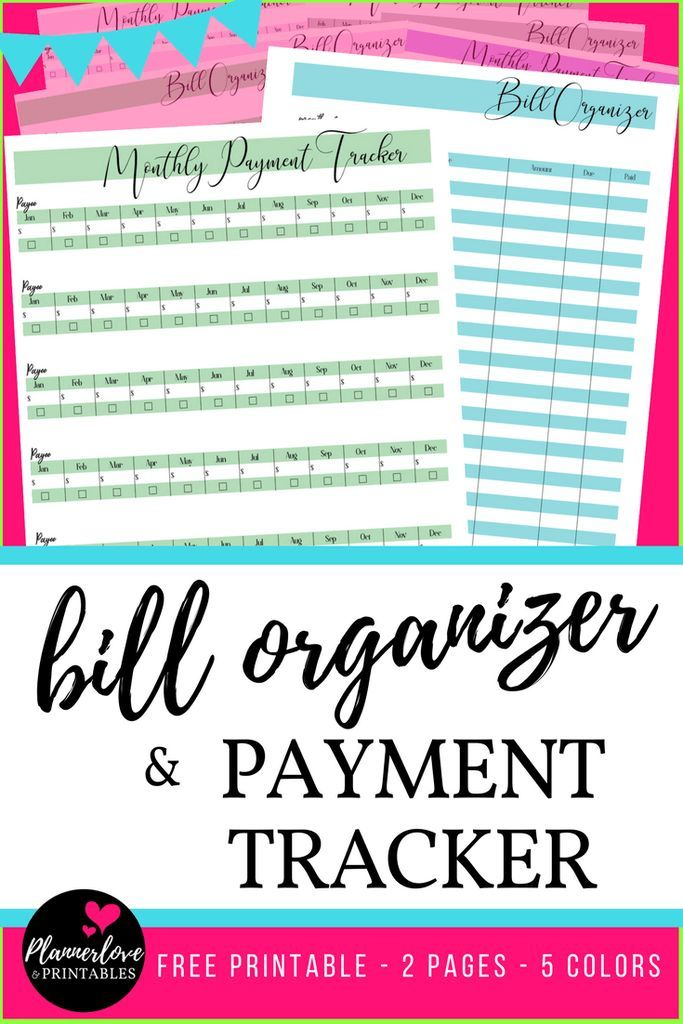 Home Finance, Bill Organizer - free printable payment trackers for