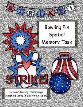 Bowling Pin Spatial Memory Task helps students learn order of bowling pin placement as well as memorization of missing items.
