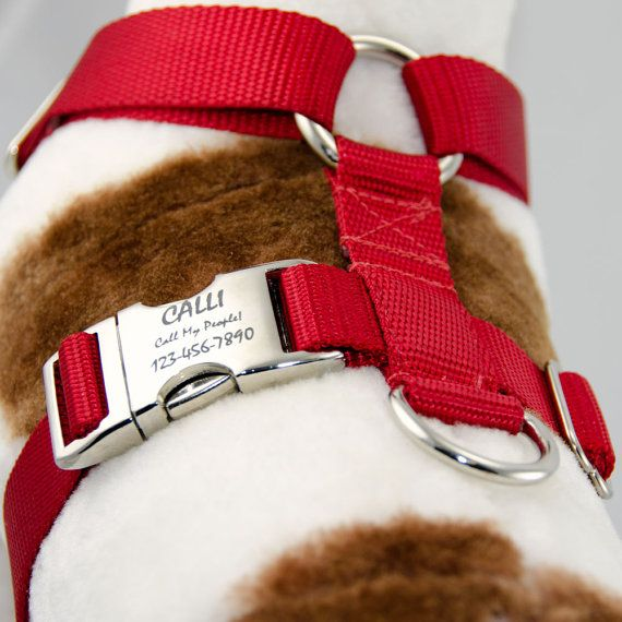 Adjustable Dog Harness No-Choke Personalized Pet ID by PupPanache