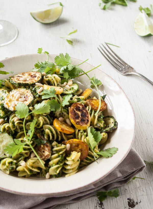 Roasted Summer Squash Pasta with Cilantro Pesto (gluten free & vegan)