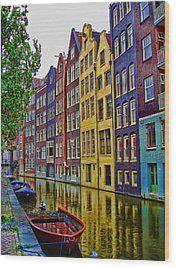 Amsterdam Wood Print by Mario Villeda