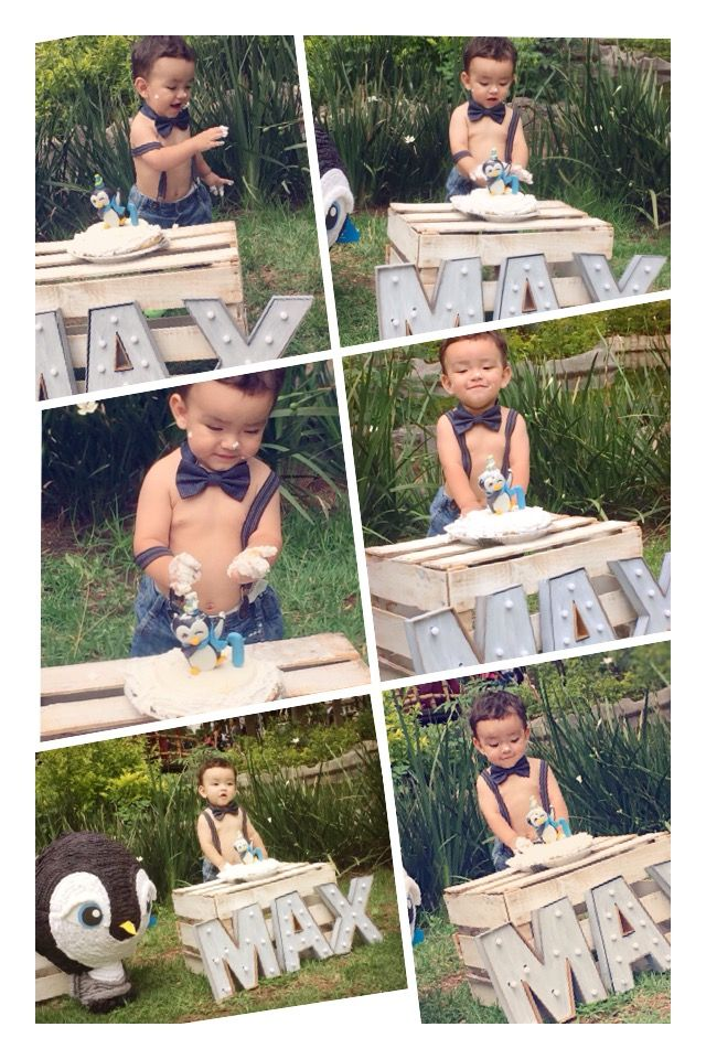 Maxi smashcake session #pictures #smashcake #1stbirthday #baby #birthday #cake #babypictures #photos #photoboot #penguin