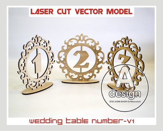 Wedding table number, wooden table numbers, rustic wedding table numbers, Laser cut vector model, In