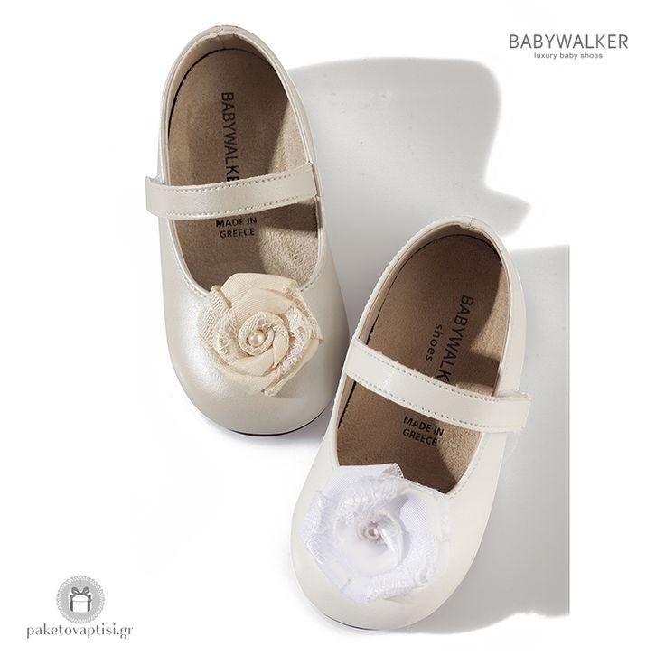 Παπουτσάκια για Κορίτσια Διακοσμημένα με Satin Λουλούδι και Δαντέλα Babywalker BS3514