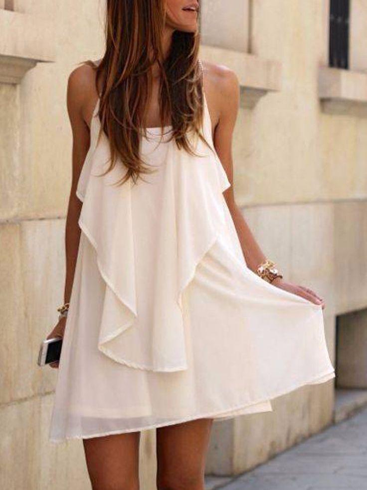 White Chain Spaghetti Strap Back Cross Asymmetric Hem Dress | Choies