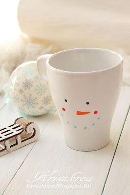 kriszkrea: Téli bögre /porcelán filcel mug painted marabu