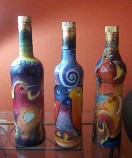 botellas pintadas al acrilico botellas de licor vacias,pintura acrilica profesio,pasta piedra tecnica acrilica,pasta piedra