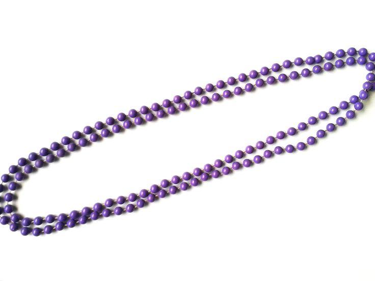 Halskette Modische Halskette 115 cm geschlossen ohne Verschlussteil lila Kunststoffperlen keine Handarbeit,Original-Schmuck 60-ziger Art.-Nr.: RHK 1010