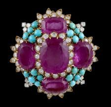 David Webb Diamond, Rubelite, Turquoise pin