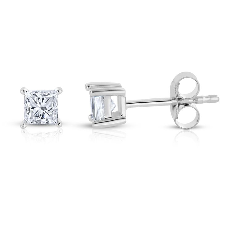 14k White Gold Princess-cut Diamond Stud Earrings (1/4 cttw, I-J, I2-I3)
