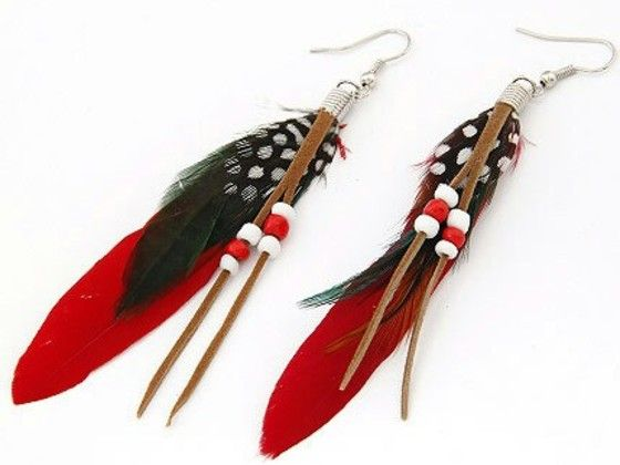 Shopo.in : Buy Vibrant Red Color Feather Earring online at best price in Kolkata, India
