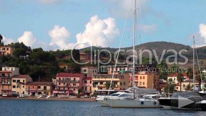 Stock video for sale at ClipCanvas: Video clip of Porto Azzurro, Elba Island, Tuscan Archipelago, Italy.