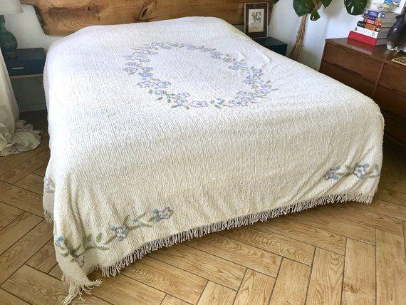 White Chenille Bedspread Queen Pristine White Cotton Chenille Purple Flowers Blanket W Fringe Floral Chenille Coverlet Queen Bed Spreads Red Bedspread Chenille Bedspread