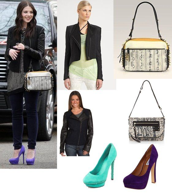 Georgina Sparks (Michelle Trachtenberg) in a Helmut Lang Jacket, Christian Louboutin, and Brian Atwood