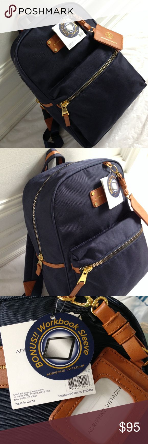 SALE Adrienne Vittadini Navy Blue Backpack Adrienne Vittadini navy blue high density nylon backpack with tan accents and gold tone zippers and hardware. I.D. Tag! Great for travel! Multi use! Interior Padded sleeve compatible with most workbooks. 2 more open pockets. Interior lined. 16 1/2 x 12 x 6 1/2 Comfortable shoulder straps. Front zipper pocket. 16 NWT New with tags! Retail $210 Adrienne Vittadini Bags Backpacks