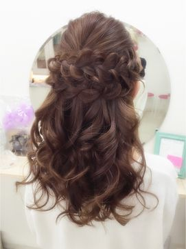 Pinky☆編み込みあれんじハーフアップ/Hairset Salon Pinky 【ピンキー】をご紹介。2017年春の最新ヘアスタイルを100万点以上掲載!ミディアム、ショート、ボブなど豊富な条件でヘアスタイル・髪型・アレンジをチェック。