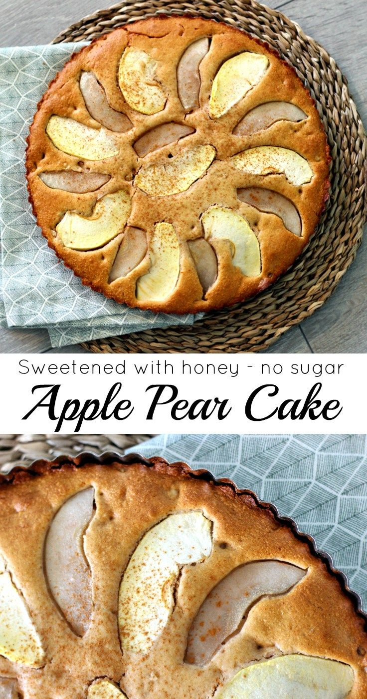 A delicious apple pear cake, sweetened with honey instead of sugar. Less guilty but still super tasty, comforting and satisfying!