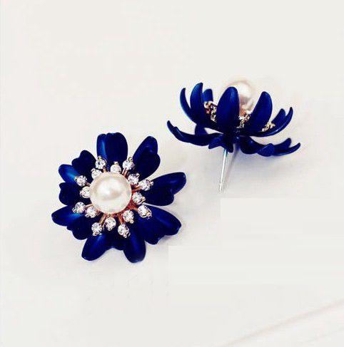 (US$4.99) Fashion Metal Blue Flower  Earrings