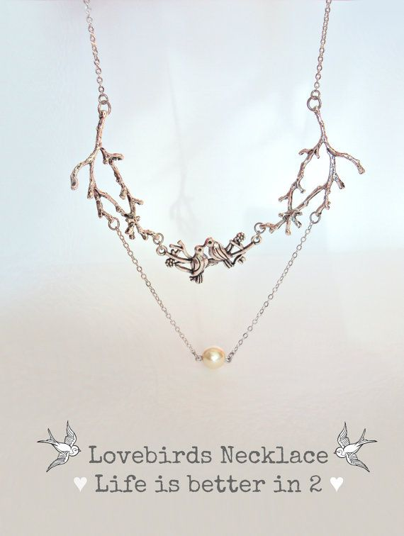 Silver Twig Necklace, Branch Necklace, Pearl, Nature Jewelry, Woodland, Valentine's Day, Lovebirds Necklace, Bird Necklace, Lovers Jewelry