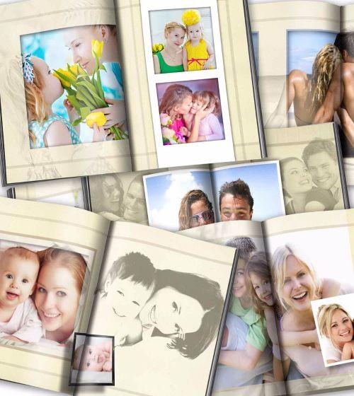 Универсальный фотоальбом с рамками для фотографий - шаблон для Фотошопа