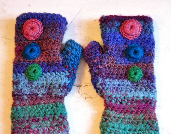 RAINBOW mittens PLUM  hand made crochet ooak by dagmarabuczek