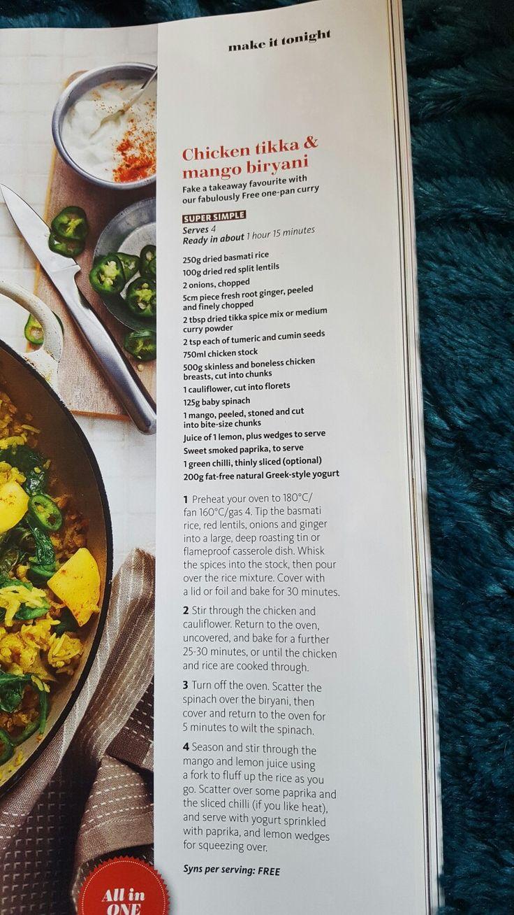 slimming world chicken tikka and mango biryani