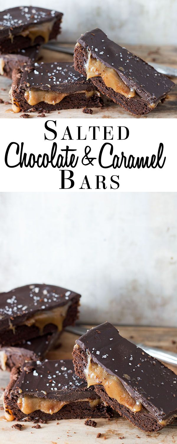 Salted Chocolate & Caramel Bars - Erren's Kitchen - This recipe for is pure indulgence! This is a dessert that's sure to please brownie and cookie lovers alike and if chocolate and caramel is your thing - you are in for a real treat!
