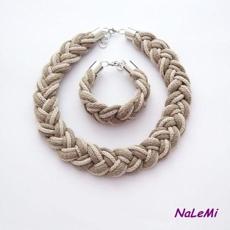Komplet sznurkowy beżowy od NaLeMi