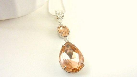 Peach Necklace Peach Rhinestone Necklace Pendant by Dewdropsdreams, $32.00 https://www.etsy.com/listing/150771723/peach-necklace-peach-rhinestone-necklace