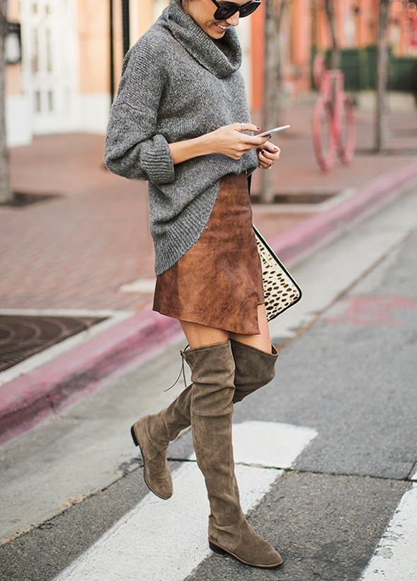 Gray sweater, brown skirt, high boots. Street knitwear women fashion outfit clothing style apparel @roressclothes closet ideas