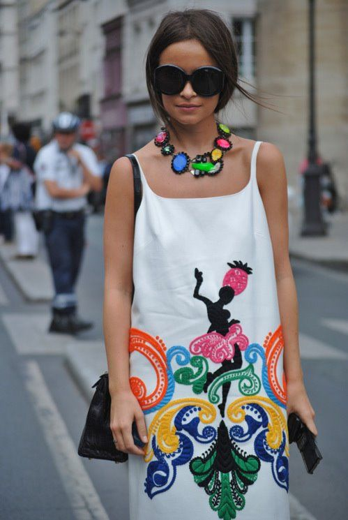 Stand out in a bright neon print dress & statement necklace - Miroslava Duma