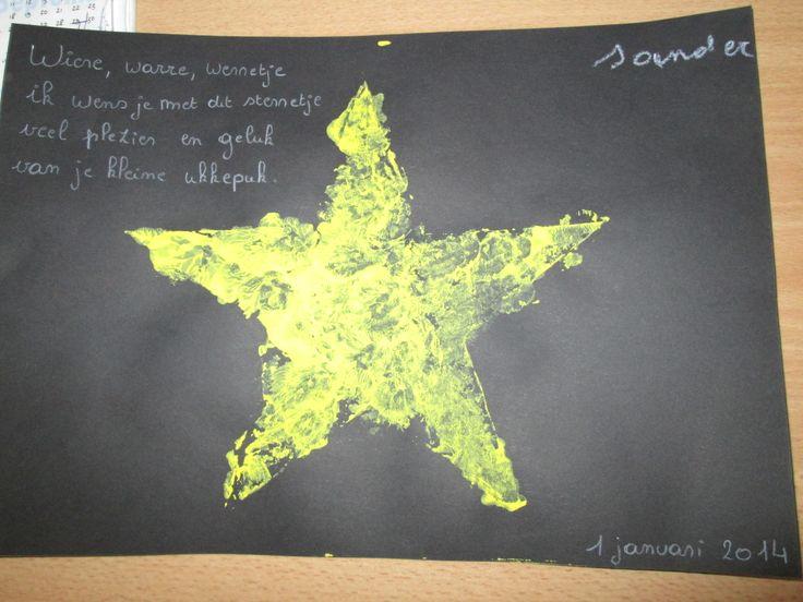 Wiere, warre, werretje ik wens je met dit sterretje veel plezier en geluk van je kleine ukkepuk. + stempelen van een ster met kurken. Instap + 1KK -JufElise90