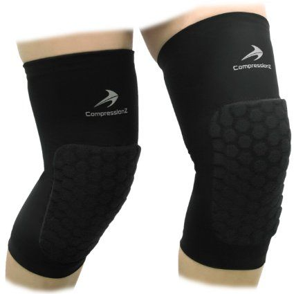 Padded Knee Sleeves (1 Pair) Protective Compression Wear - Men & Women Basketball Brace Support - Best to Immobilize, Strap & Wrap K...