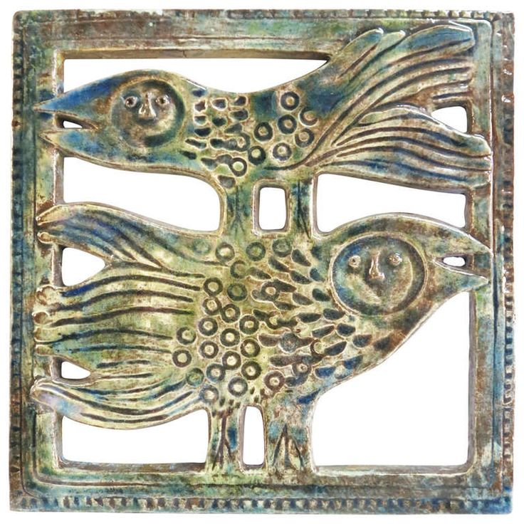 Unique piece. Vintage wall tile.  Design: Eva Fritz - Lindner.  Eva Fritz - Lindner was born in Düsseldorf (Germany) in 1933. Designer in the State Majolica Manufactory Karlsruhe from 1955 to 1964. Between 1964 she work at freelancer. Works by Eva Fritz - Lindner found in various museums in Europe. Her ceramics are very searched by collectors worldwide.  Manufacturer: Karlsruher Majolika. Germany.   Germany: Probably 1959.  Measure : 40 x 40 x 2 cm.