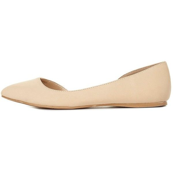 Charlotte Russe Nude Almond Toe D'Orsay Flats by Charlotte Russe at... (190 NOK) ❤ liked on Polyvore featuring shoes, flats, zapatos, nude, nude ballet flats, ballet shoes, pointed flat shoes, nude flats and ballet flat shoes