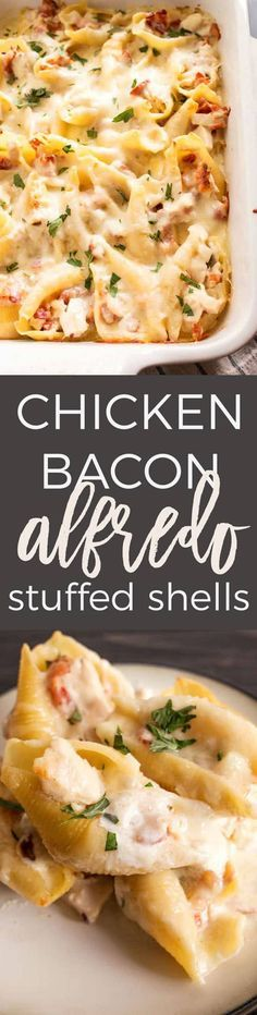These chicken bacon Alfredo stuffed shells are perfect for Sunday supper! Use store bought Alfredo sauce or homemade for an extra special touch. #pasta #dinner