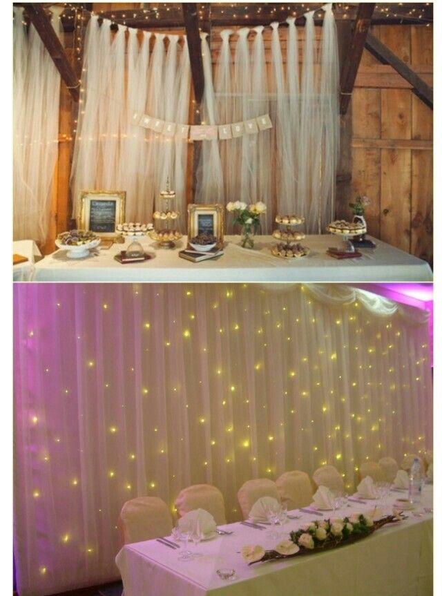 Decoração com cortina de tule e luzes. Leve, romântica e ...