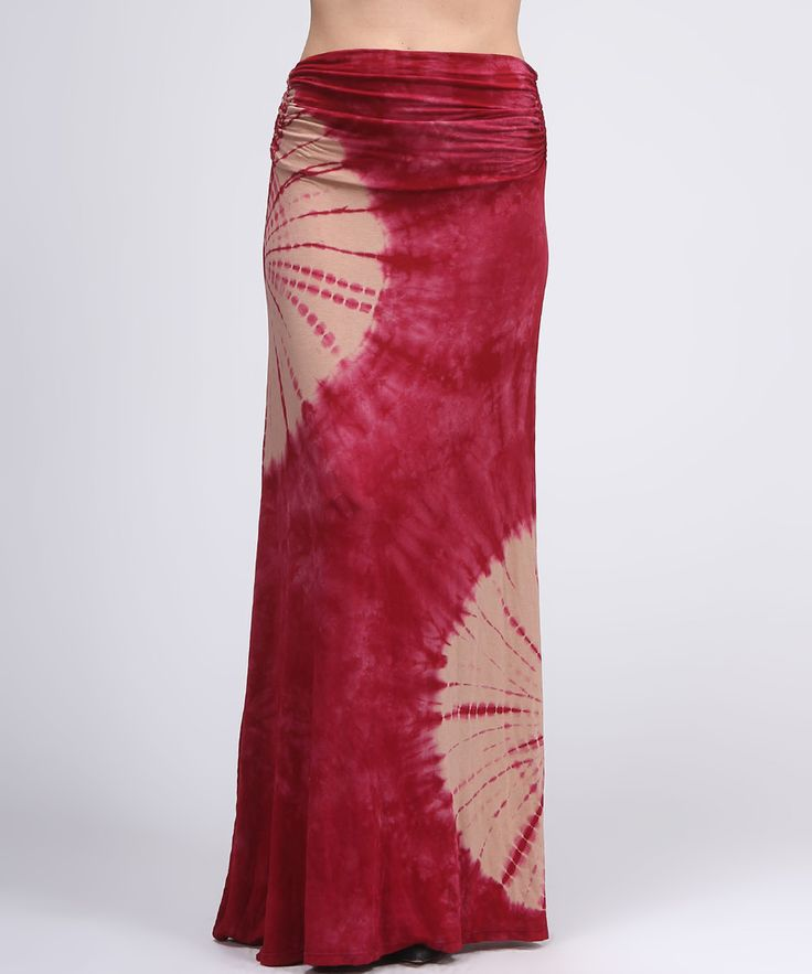 Red & Beige Tie-Dye Maxi Skirt | something special every day