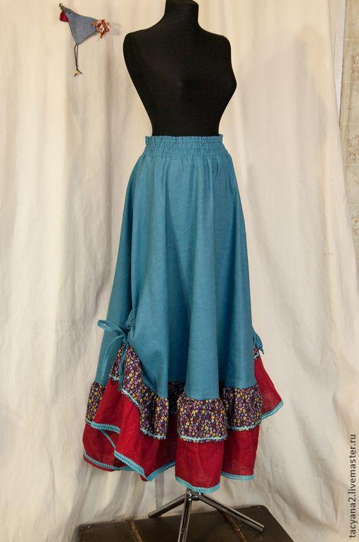 """Купить Юбка """"Малина и бирюза"""" - тёмно-бирюзовый, однотонный, малиновый, юбка в пол, бохо"""