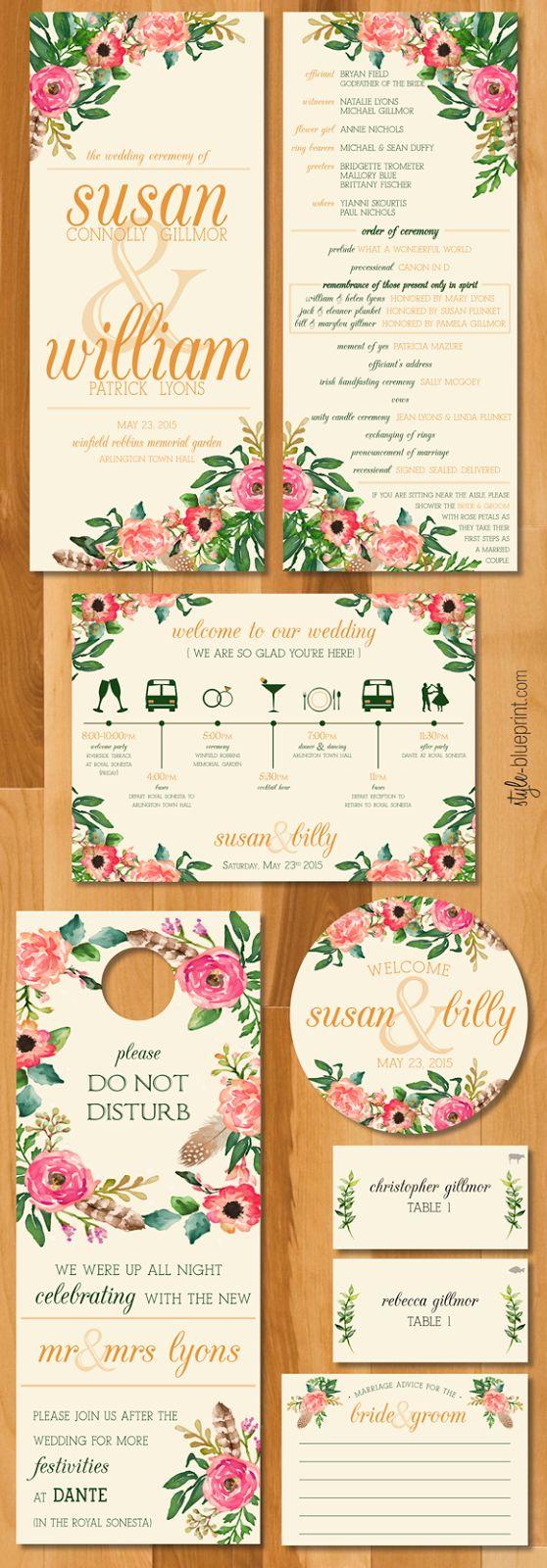 custom floral wedding suite  //  itinerary, hotel bag stickers, door hangers, programs, advice cards, escort cards
